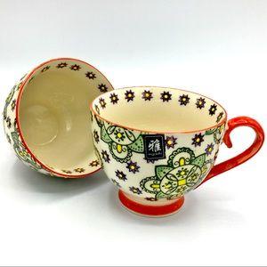 miyabi Hand Painted Mandala Coffee Tea Mug Pair